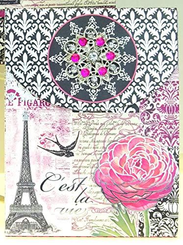 Punch Studio Brooch 5 inch Notepad ~ C'est La Vie Script Eiffel Tower (98655) Birds (Swallows), Flowers, Pink, Black, Purple