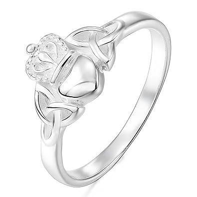 5e04300d5036 MunkiMix 925 Plata Anillo Ring Corazón Heart Amistad Amor Claddagh irlandés  Corona Alianzas Boda Mujer  Amazon.es  Joyería