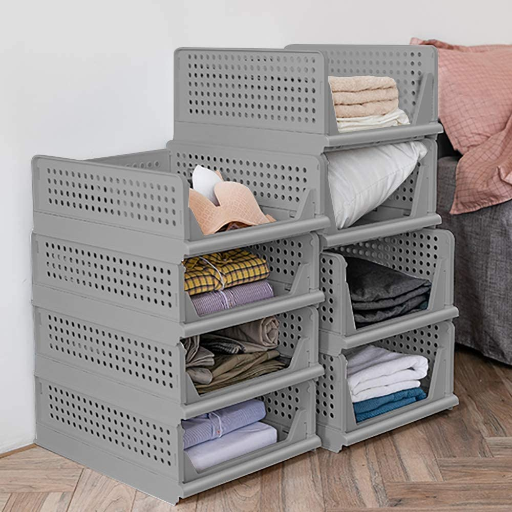 4-Pack Folding Wardrobe Storage Box Plastic Drawer Organizer Stackable Shelf Baskets Clothes Closet Containers Bin Cubes ,Home Office Bedroom Laundry Fold Pull Out Drawer Dividers for Clothes,Toys