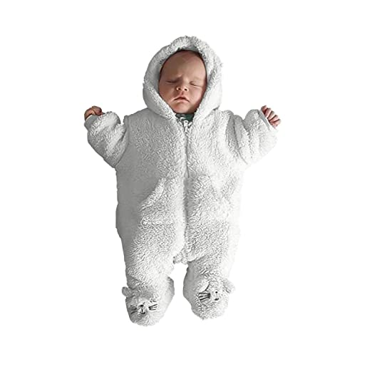 c42362b2d5 Unmega Baby Girl Zipper Pajamas Baby Boy Footed Onesie Long Sleeve Outerwear  (White