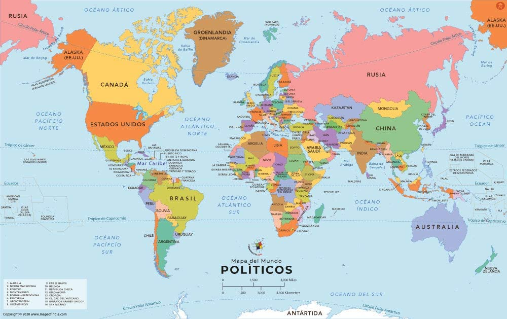 Picture Of The World Map Amazon.: World Map with Countries in Spanish (36