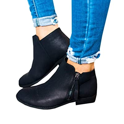 Ruanyu Womens Ankle Boots Low Stacked Heel Round Toe Side Zipper Winter Western Booties   Ankle & Bootie