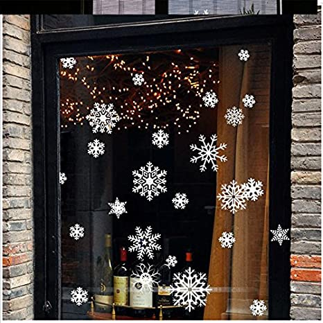 Reusable No Mess for Christmas Ornaments Holiday New Years Winter Wonderland Decoration Ornaments Home Decor Party Supplies BTOOP 102Pcs White Snowflakes Window Clings Decals Stickers
