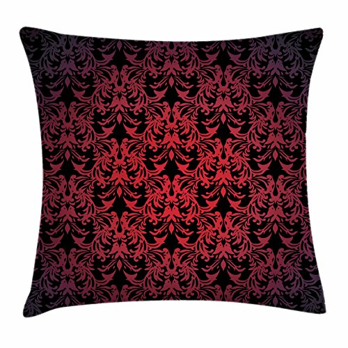 Ambesonne Red and Black Throw Pillow Cushion Cover by, Victorian Antique Old European Design Floral Swirls and Leaves Ombre Image, Decorative Square Accent Pillow Case, 16 X 16 Inches, (Black Floral Swirls Design)