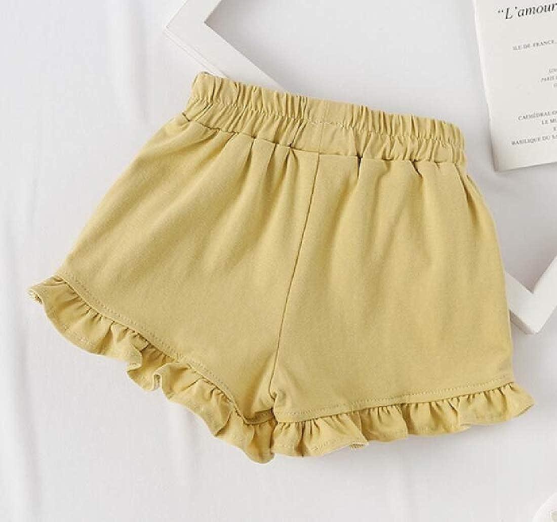 pipigo Girl Stylish Elastic Waist Ruffled Lovely Embroidery Shorts