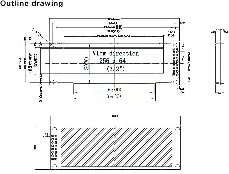 """JIANGJINLAN Display OLED 3.12"""" SSD1322 Supporto del Controller SPI 256 * 64 25664 Dots modulo Grafico LCD Screen Display Schermo LCM (Color : White) Yellow"""