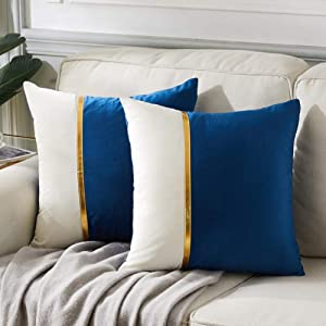 Fancy Homi 2 Packs Decorative Throw Pillow Covers 18x18 Inch for Living Room Couch Bed, Navy Blue and White Velvet Patchwork with Gold Leather, Luxury Modern Home Decor, Accent Cushion Case 45x45 cm