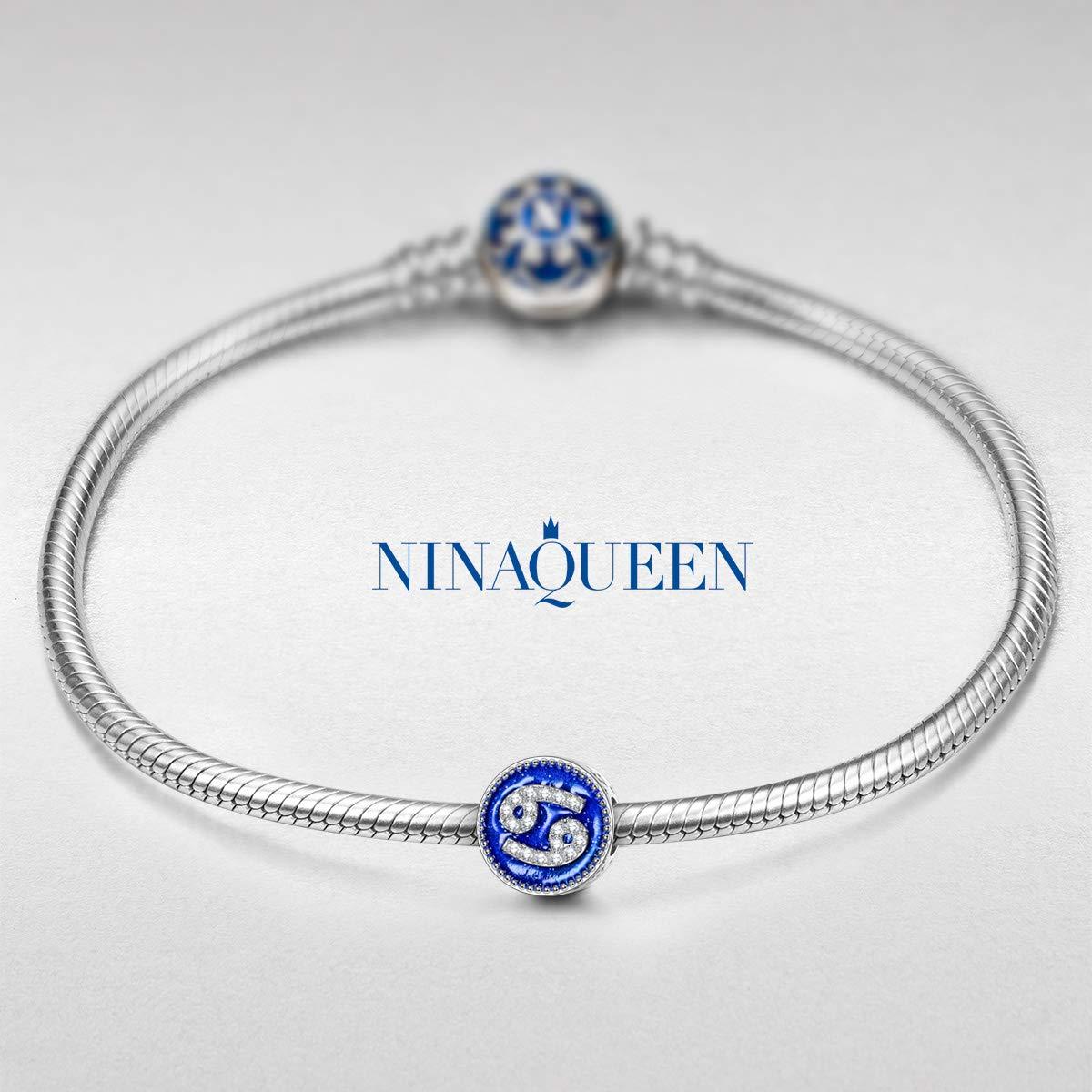 Beste Wahl f/ür Weihnachten! NINAQUEEN/® Charms //12 Sternzeichen// 925 Silber Emaille Zirkonia mit Schmuckkasten