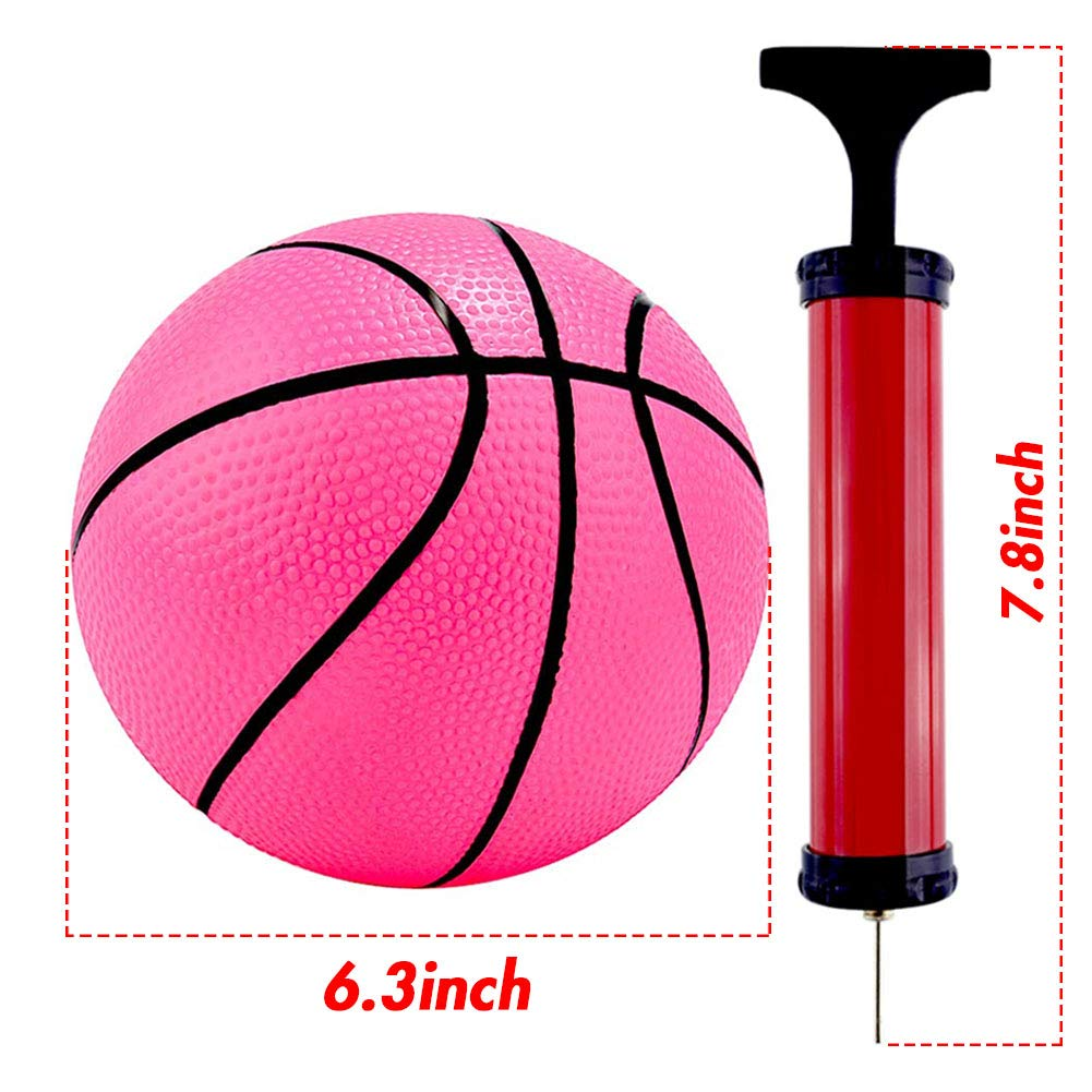 Shindel 6Inches Mini Toy Basketball, 6PCS Basketball for Toddlers, Colorful Kids Mini Toy Basketball Rubber Baketball for Kids, Teenager Basketballs, with Pump