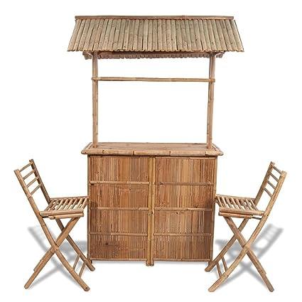 vidaXL Set barra de bar hecha bambú con 2 sillas: Amazon.es: Hogar
