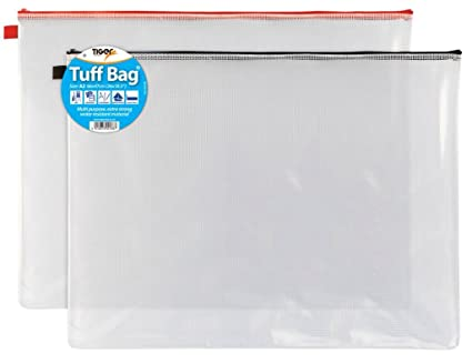Pack Of 1 DL Tuff Bags Clear Reinforced Storage Folder Zippa Zip Wallets Case Water Resistant 11cm X 23cm