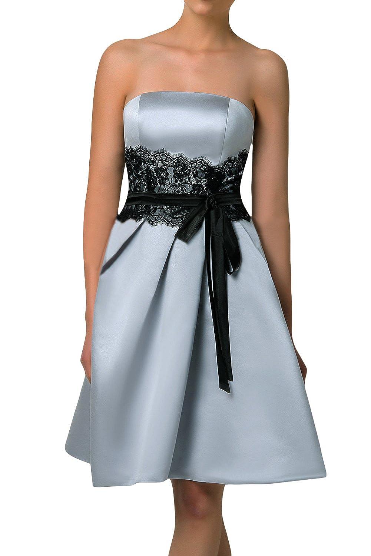 TOSKANA BRAUT Glamour Damen Traegerlos Abendkleider Kurz Satin ...