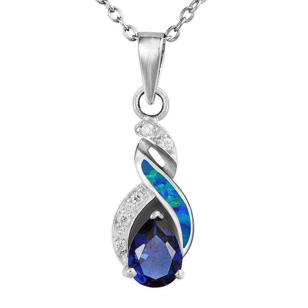Sinlifu Lovely Blue Fire Australian Opal Sapphire Topaz Silver Plated Wedding Pendant Necklace Jewelry