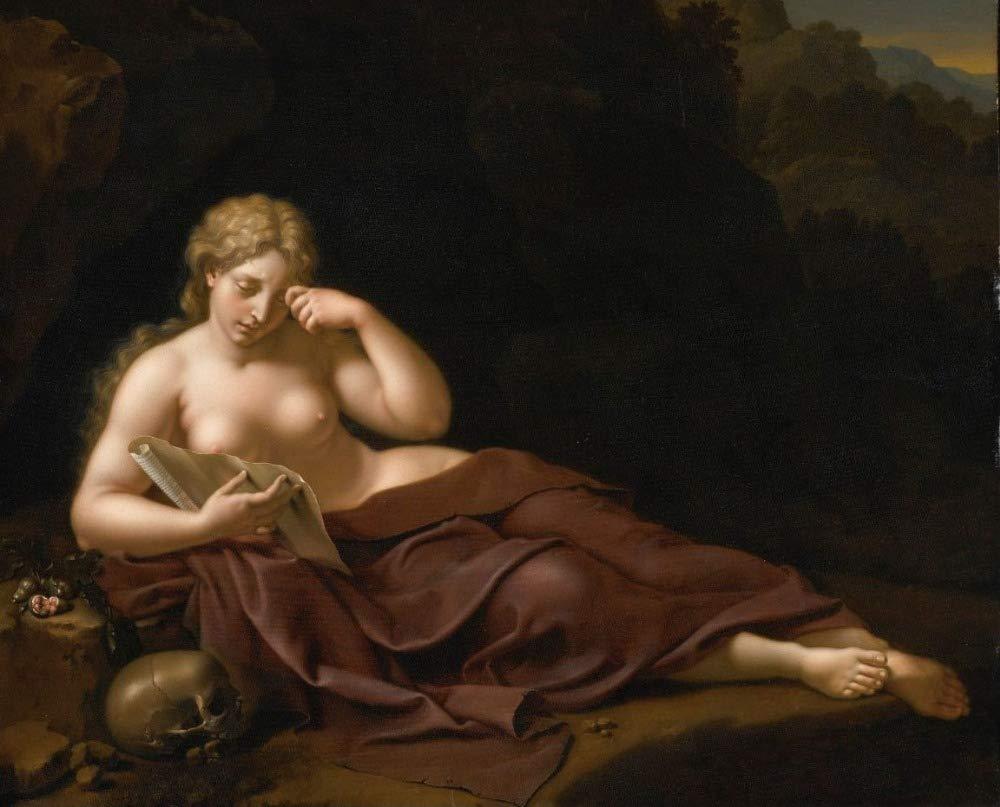 Maddalena Penitente VNKLIN Pittura Ad Olio Perfetta di Alta qualit/à 40X28In Dipinto A Mano su Tela