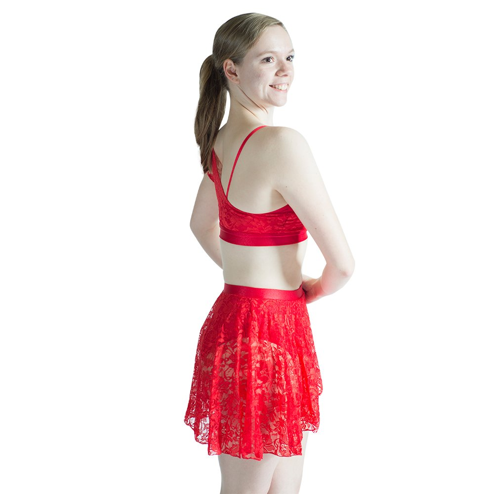 HDW DANCE Lyrical Contemporary Ballet 2 Pieces Dance Dress Shiny Lace Polyamide and Spandex