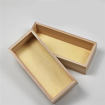 HUZHUANGZHUANG HZZymj-Rectangular sin Tapa Pequeña Caja de Madera Caja de Almacenamiento de Escritorio Simple