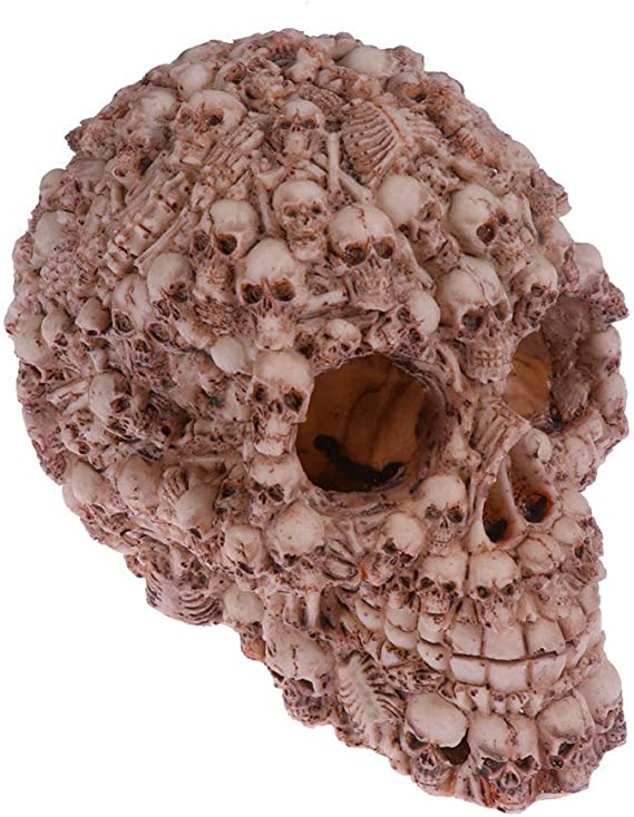 Human Sugar Skull Aquarium Sculpture Figure Ornament Fish Tank or Reptile Tank Aquarium Decor Supplies 3-12 tall with hole in side
