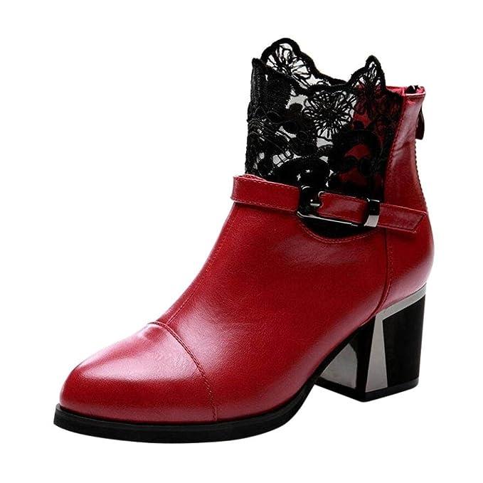 Minetom Damen Herbst Winter Schnür Boots Schuhe Stiefel mit Warm Gefüttert Schlupfstiefel Stiefelette Bootsschuhe Wassermelonenrot EU 37 4ouco