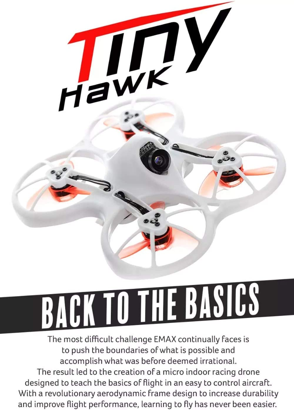 Wpond Emax Tinyhawk Indoor FPV Racing Drone BNF RTF F4 4in1 3A 15000KV 37CH 25mW 600TVL VTX 1S BNF