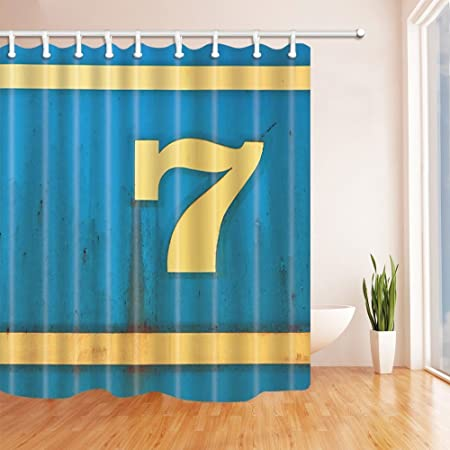 Wall Art Shower Curtains For Bathroom Wallpaper Number7 On Rustic Blue Polyester Fabric Waterproof Bath