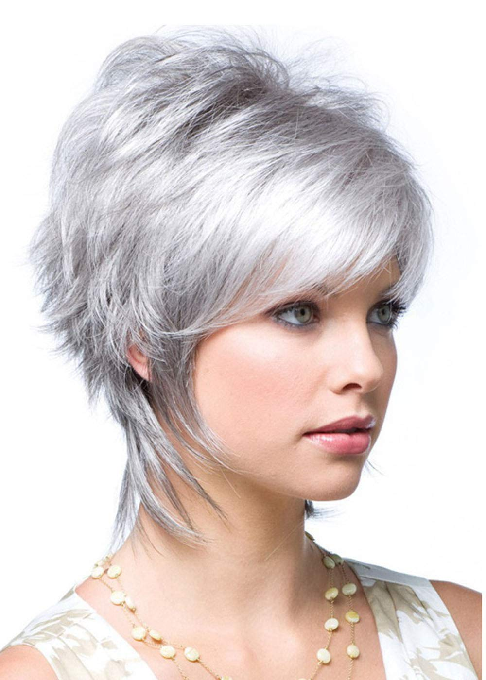 MILISI Short Silver Gray Wigs for White Women Natural Curly Synthetic Fashion Full Wig with Oblique Bangs Cosplay Party Wig + 1 Wig Cap