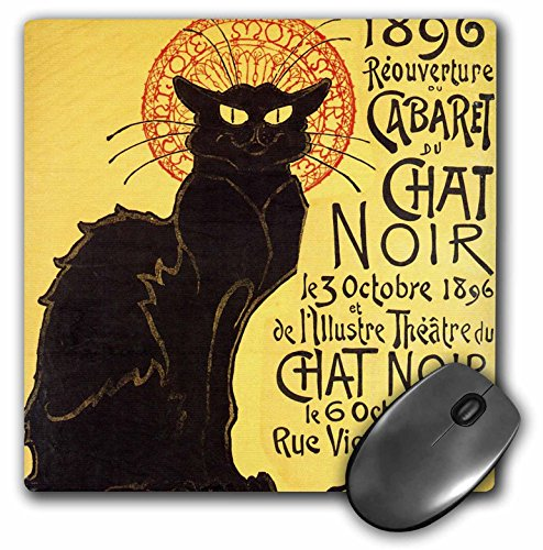 3dRose LLC 8 x 8 x 0.25 Inches Mouse Pad, Vintage French Chat Noir Black Cat Art (mp_99416_1)
