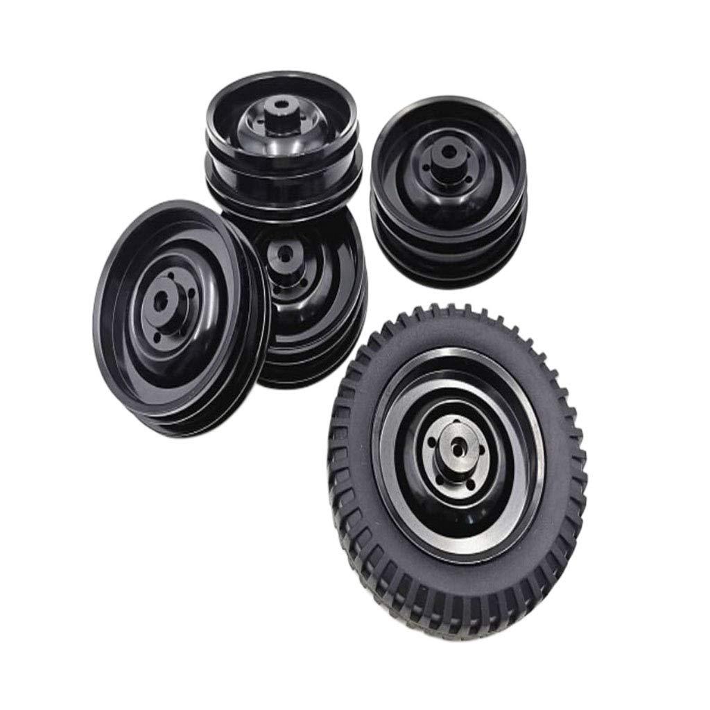Noir IPOTCH 5pcs Roues Jantes en Aluminium pour Camion Militaire 1//10 JJRC Q65 Pi/èces de Mise /à Niveau