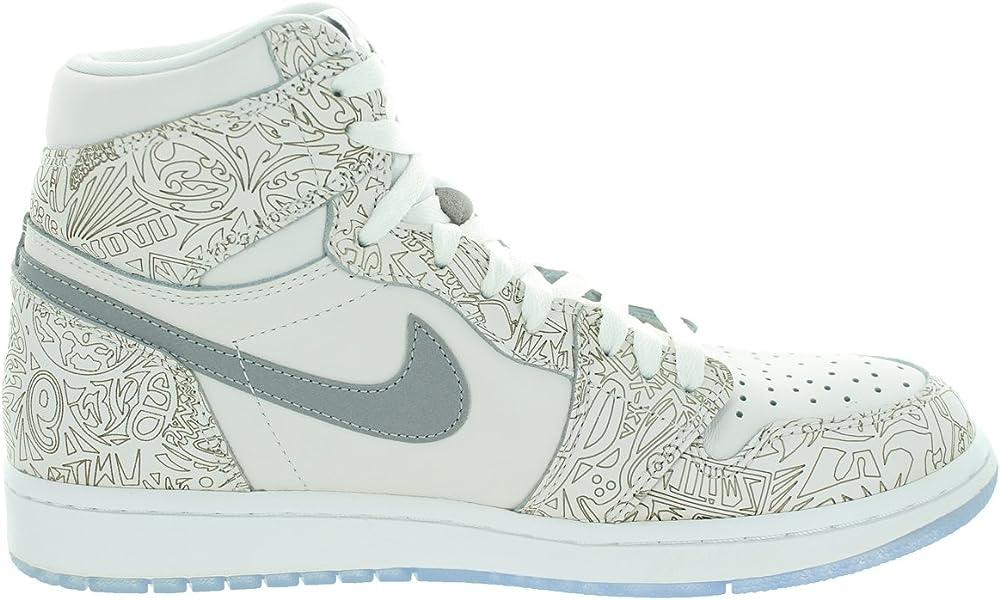 online store 8bb27 429b4 Jordan Nike Men s 1 Retro Hi Og Laser White Metallic Silver Basketball Shoe  9 Men. Back. Double-tap to zoom