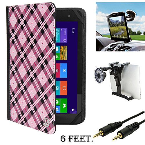 "Checkers Portfolio & Car Mount & AUX Cable For BLU TouchBook/Life 8/Chuwi V Series/Coby Kyros 7/Datawind UbiSlate 7/Dell Venue 8"" Tablet"
