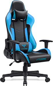 Waleaf Vitesse Gaming Chair (Sillas Gaming) Ergonomic Computer Desk Chair Racing Style Comfortable Chair High Back Swivel Executive Leather Chair with Lumbar Support and Headrest (Tiffany Blue)