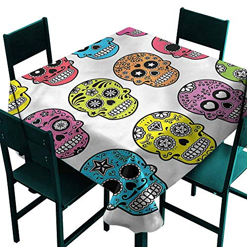 DONEECKL Square Tablecloth Skull Mexican Halloween Tradition for Kitchen Dinning Tabletop Decoration W50 xL50