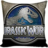 7.8 X 7.8 inches Blue Jurassic Park Decorative Pillowcase, Light Grey Dinosaur Throw Pillow Cover Jurassic World T Rex Cushion Cover Adventure Movie Themed Animal Print Zippered Plain, Polyester