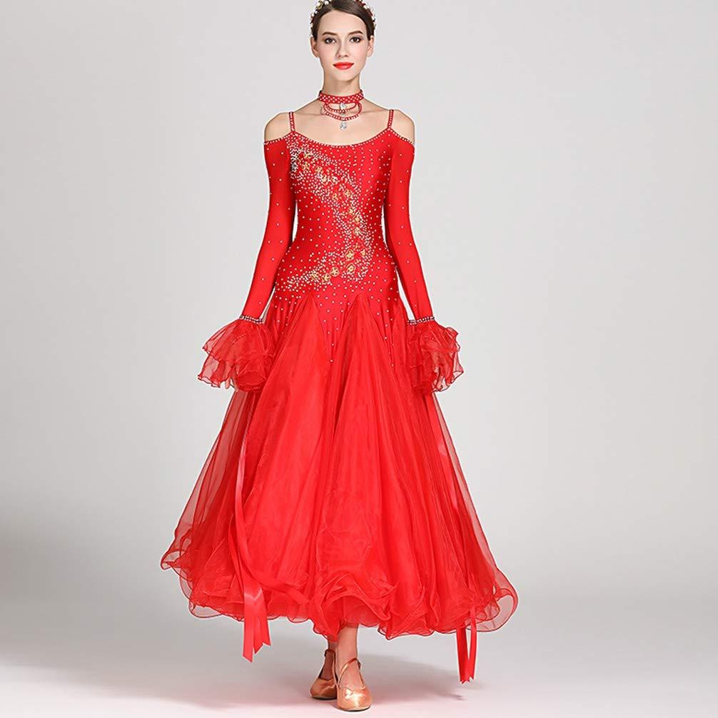 Erwachsenes Mädchen Mädchen Mädchen Mehr Farben Walzer Modern Dance Wettbewerb Kleid National Standard Ballsaal Performance-Kleider Tango Strass Kostüm Lange Ärmel B07PQ85LH7 Bekleidung Im Gegensatz zu dem gleichen Absatz 791e04