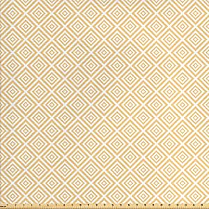 Vintage Tela Por El Patio por Ambesonne, repetición de patrón geométrico con anidadas cuadrados de tela decorativa, diseño de cuadros de colores, para tapicería y acentos para el hogar, Naranja Blanco