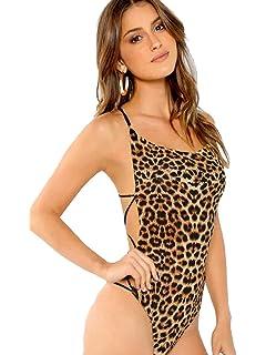 a6b9c26323 Amazon.com  Sexy Tiger Leopard Stripped Print V Neck Bodysuits ...
