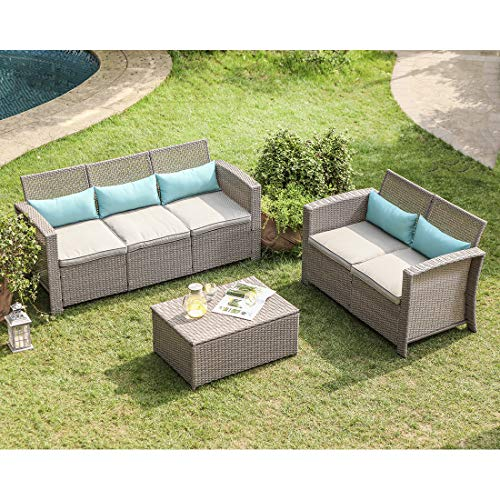 COSIEST 3-Piece Outdoor Furniture Set Taupe Wicker Sectional Sofa w Warm Gray Thick Cushions, Storage Chest, 5 Turquoise Lumbar Pillows for Garden, Pool, Backyard
