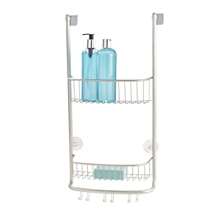 1eadbc098be32 iDesign Shower Caddy Over the Door, Small Hanging Bathroom Organiser with  Two Shelves Made of