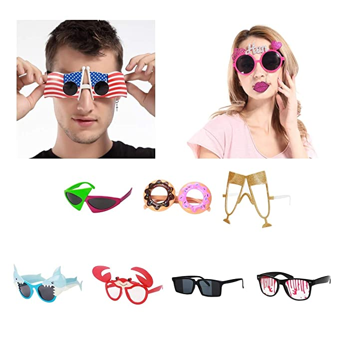 de4330bf08 Amazon.com  Fenteer Novelty Party Sunglasses Roy Purdy Glasses Hip Hop  Costume Accessories  Clothing