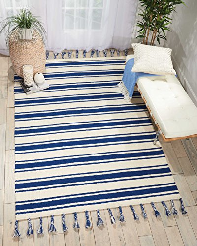 Nourison SLN01 Solano Striped Wool Ivory Navy Area Rug 5'X7'6
