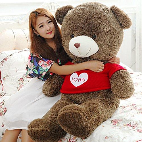 Giant Stuffed Teddy Bear With Love Heart Sweater Plush Animal Toys Brown 140cm/55