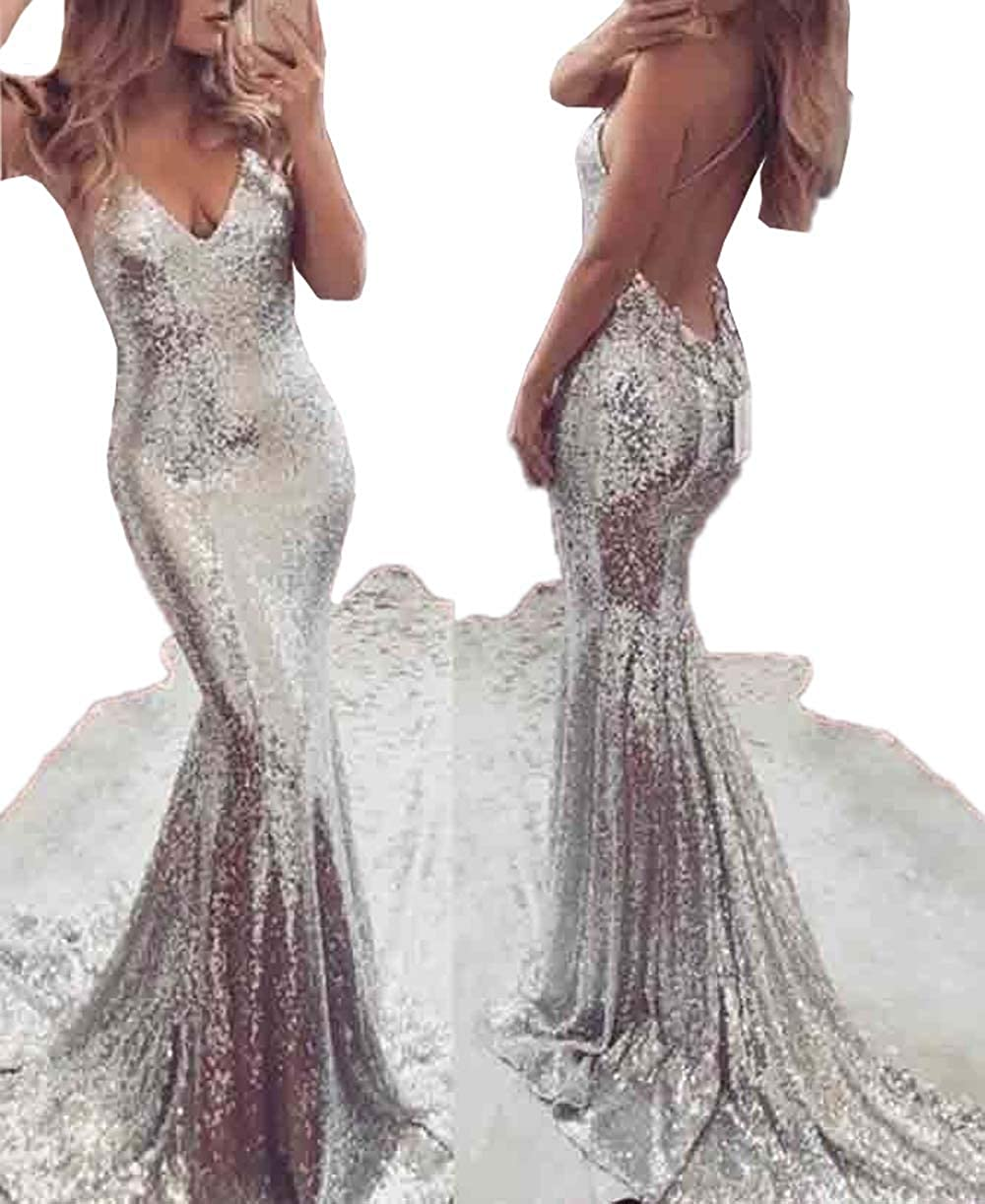 dd7b70cfa528 USGreatgorgeous Women Silver Sequined Long Mermaid Spaghetti Straps V Neck  Backless Prom Cocktail Gown Evening Dress at Amazon Women's Clothing store: