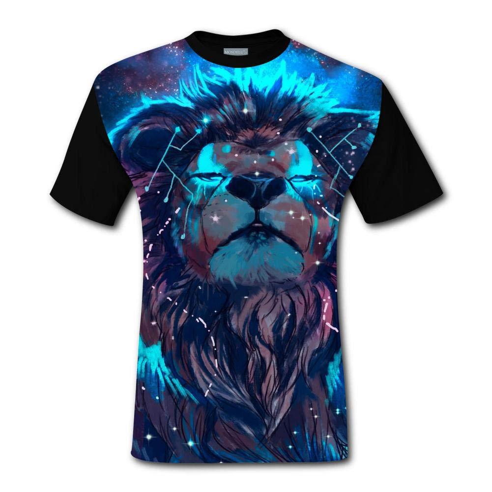 HSUZHA Lion Artistic Colorful Short Sleeve Crew Neck T Shirt for Mens