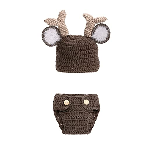 2717cc27f Baby Costume Newborn Photography Props Girls Boys Outfits Crochet Knit Deer  hat pants