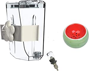 Hamster Food Bowl and Water Bottle,Non-Drip Small Animal Water Bottle Can Be Hung Kettle Leak-Proof Nozzle Automatic Dispenser Waterer Collocation Ceramic Bowl for Hamster Rabbits Ferrets Chinchilla
