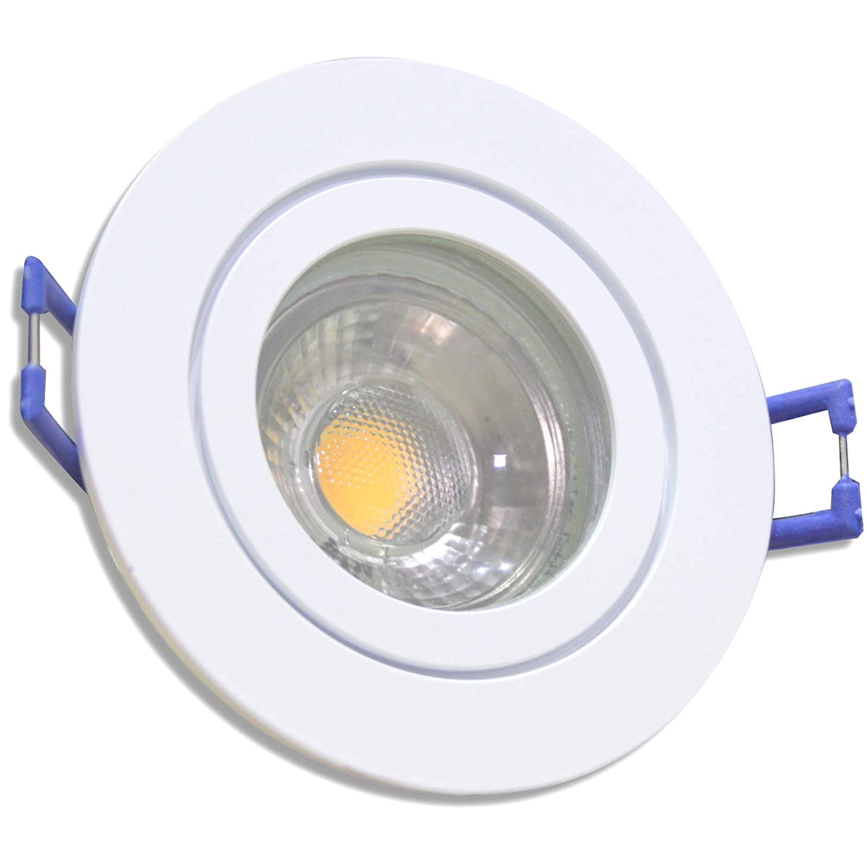 5 Stück IP44 MCOB Modul Bad Einbauleuchte Aqua 230 Volt 5 Watt Rund Weiß Warmweiß