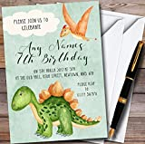 Green Watercolour Dinosaur Personalized Childrens Birthday Party Invitations