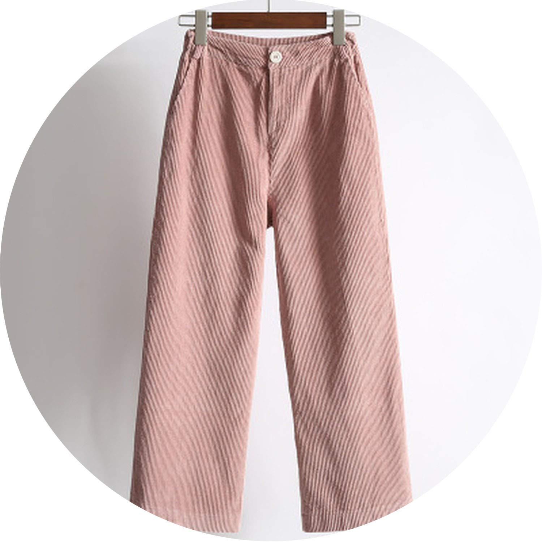 1 Be fearless Women's Pants Waist Loose Wide Leg Pants Women Autumn Winter Corduroy Cropped Trousers