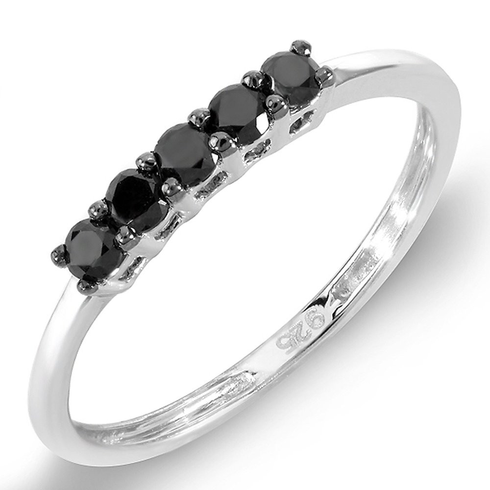 0.37 Carat (ctw) Sterling Silver Round Black Diamond Ladies Anniversary Wedding Band Ring 1/3 CT (Size 7)