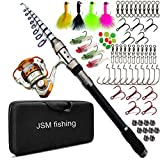 Cheap JSHANMEI Spin Spinning Rod and Reel Combos Fishing Carrier Bag Case Portable Telescopic Fishing Rod with Reel Combo Sea Fishing Saltwater Freshwater Fishing Pole Rod Set (2.1M FULL KIT)
