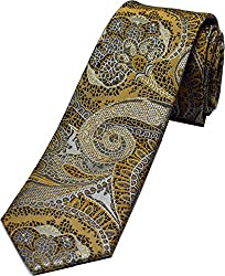Zarrano Skinny Tie 100% Silk Woven Taupe/Brown Paisley Tie